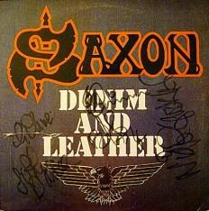Виниловая пластинка Saxon - Denim and Leather En/ автографы